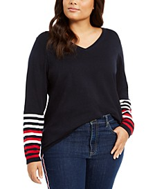 Plus Size Ivy Striped-Sleeve Sweater