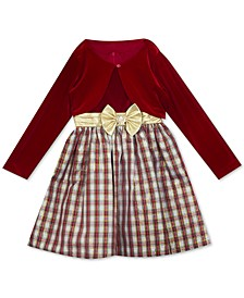 Big Girls 2-Pc. Velvet Bolero & Plaid Bow Dress Set