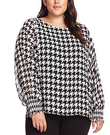 Plus Size Houndstooth Blouse
