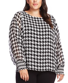Vince Camuto Plus Size Houndstooth Blouse
