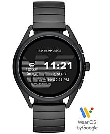 Men's Black Stainless Steel Bracelet Touchscreen Smart Watch 45mm
