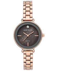 Women's Diamond-Accent Rose Gold-Tone Bracelet Watch 30mm