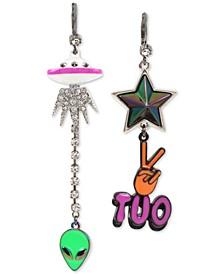 Multi-Tone Alien & Peace Out Mismatch Linear Earrings