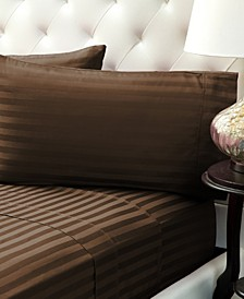 Damask Stripe Sateen Stripe Sheet Set- Full
