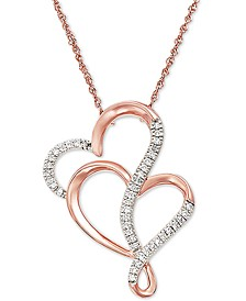 """Diamond Double Heart 18"""" Pendant Necklace (1/8 ct. t.w.) in 10k Rose Gold"""