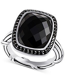 Onyx (8-7/8 ct. t.w.) & Black Spinel (1/3 ct. t.w.) Ring in Sterling Silver