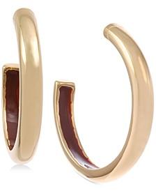 """Small Gold-Tone Enamel-Lined Hoop Earrings 1"""""""
