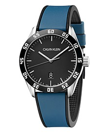 Unisex Compete Blue & Black Silicone Strap Watch 42mm