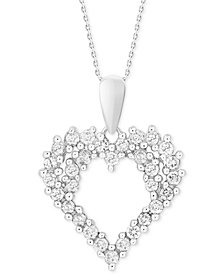 "Diamond Cluster 18"" Pendant Necklace (1/4 ct. t.w.) in 14k White Gold"