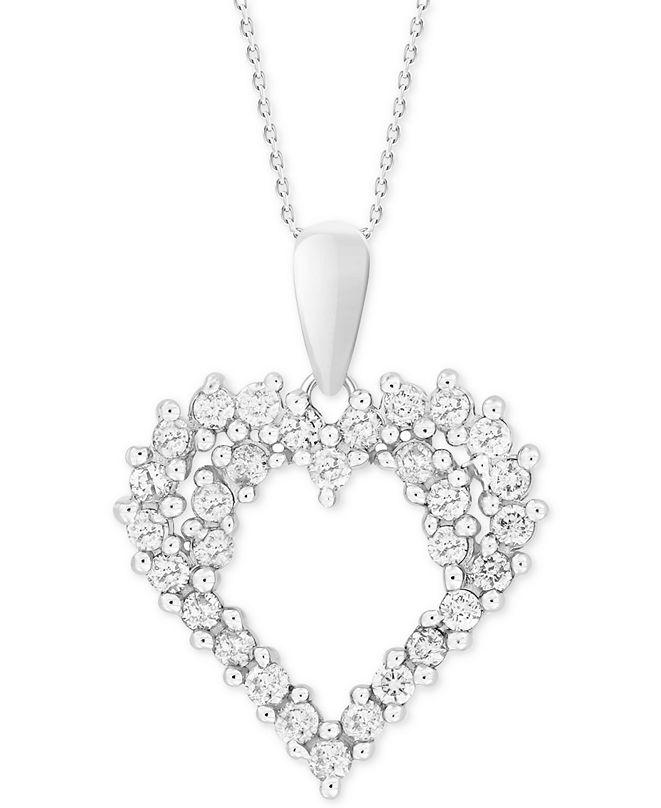 "Macy's Diamond Cluster 18"" Pendant Necklace (1/4 ct. t.w.) in 14k White Gold"