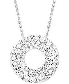 "Diamond Circular 18"" Pendant Necklace (1 ct. t.w.) in 14k White Gold"