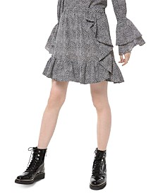Michael Michael Kors Printed Ruffled Skirt, Regular & Petite Sizes