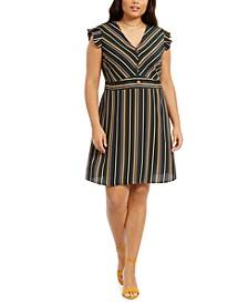 Plus Size Ruffle-Sleeve Fit & Flare Dress