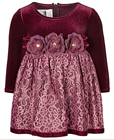Baby Girls Velvet Lace Dress