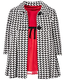 Baby Girls 2-Pc. Houndstooth Coat & Knit Mesh Dress Set