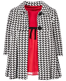 Bonnie Baby Baby Girls 2-Pc. Houndstooth Coat & Knit Mesh Dress Set