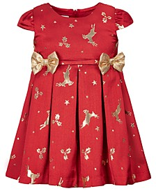Baby Girls Jacquard Reindeer-Print Bows Dress