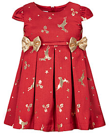 Bonnie Baby Baby Girls Jacquard Reindeer-Print Bows Dress
