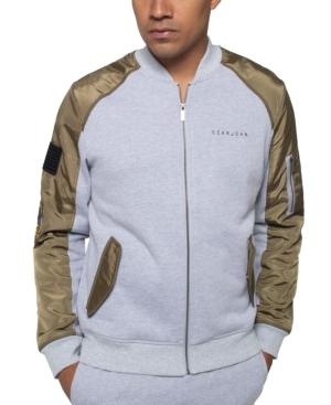 Sean John Men's Bomber Track Jacket In Athletic Grey Htr