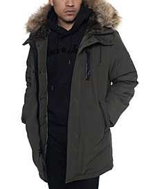 Men's Faux Fur Trimmed Three-Quarter Snorkel Coat
