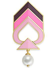 Gold-Tone Imitation Pearl Enamel Chevron Pin