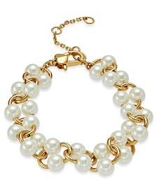 Gold-Tone Imitation Pearl Link Bracelet