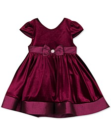 Baby Girls Taffeta-Trim Velvet Dress