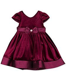 Rare Editions Baby Girls Taffeta-Trim Velvet Dress