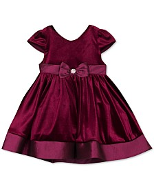 Rare Editions Baby Girls Taffeta-Trim Velvet Dress