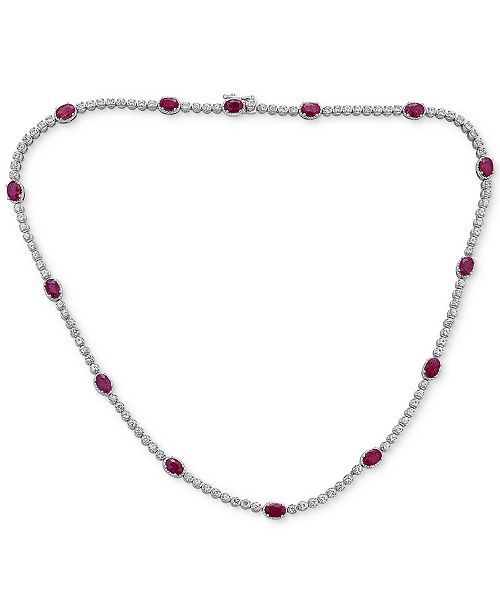 """Macy's Certified Ruby (7 ct. t.w.) & White Topaz (2 ct. t.w.) 17"""" Collar Necklace in Sterling Silver"""