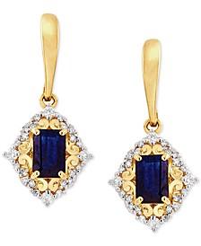 Sapphire (1-3/8 ct. t.w) & Diamond (1/4 ct. t.w) Drop Earrings in 14k Gold