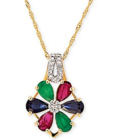 "Multi-Gemstone (1-3/8 ct. t.w) & Diamond Accent Flower 18"" Pendant Necklace in 14k Gold"