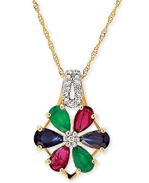 "Macy's Multi-Gemstone (1-3/8 ct. t.w) & Diamond Accent Flower 18"" Pendant Necklace in 14k Gold"