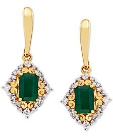 Emerald (1-1/5 ct.-t.w) & Diamond (1/4 ct. t.w) Drop Earrings in 14k Gold