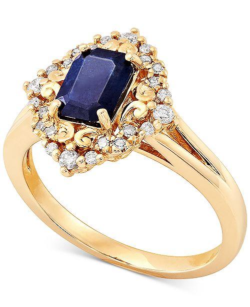 Macy's Sapphire (1-1/6 ct. t.w.) & Diamond (1/5 ct. t.w.) Statement Ring in 14k Gold