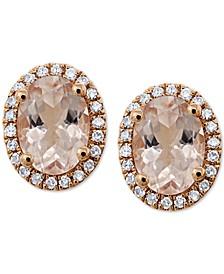 Morganite (1-1/2 ct. t.w.) & Diamond (1/6 ct. t.w.) Stud Earrings in 14k Rose Gold