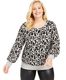 Plus Size Metallic Animal-Print Sweater, Created For Macy's