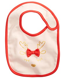 Baby Girls Cotton Reindeer Bib, Created For Macy's