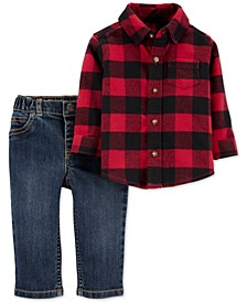 Baby Boys 2-Pc. Buffalo Plaid Shirt & Jeans Set