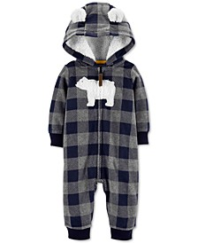 Baby Boys Hooded Fleece Polar Bear Jumpsuit