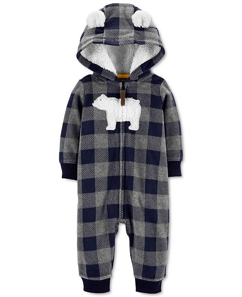 Carter's Baby Boys Hooded Fleece Polar Bear Jumpsuit