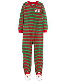 Little & Big Boys Always Nice Footed Santa Pajamas