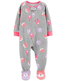 Baby Girls Footed Fleece Animals Pajamas