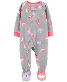 Carter's Baby Girls Footed Fleece Animals Pajamas