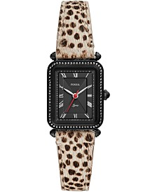 Fossil Women's Lyric Animal Print Leather Strap Watch 28mm