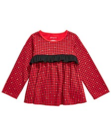 Baby Girls Cotton Long Sleeve Check Ruffle T-Shirt, Created for Macy's