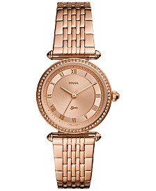 Fossil Women's Lyric Rose Gold-Tone Stainless Steel Bracelet Watch 32mm