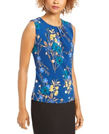 Calvin Klein Petite Printed Pleated Top
