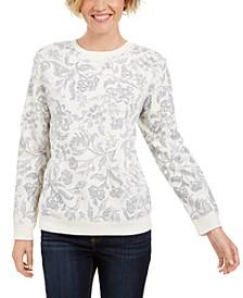 Petite Printed Crewneck Sweatshirt, Created For Macy's