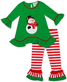 Little Girls 2-Pc. Snowman Top & Striped Leggings Set